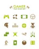 Vektor-flache Ikone eingestellt - Gamer lizenzfreie abbildung
