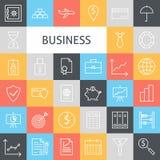 Vektor-flache Linie Art Modern Business Icons Set Lizenzfreie Stockfotos