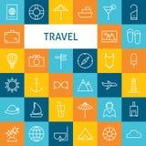 Vektor-flache Linie Art Modern Travel Vacation und Erholungsort und Schoo Lizenzfreies Stockfoto