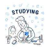 Vektor flache studiyng Jungenillustration Lizenzfreie Stockfotos
