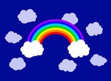 Vektor-flacher Regenbogen und Wolken-Illustration, Himmel-Hintergrund stock abbildung