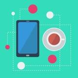 Vektor flaches infographics mit Smartphone stock abbildung