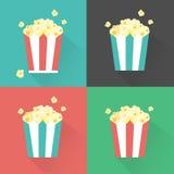 Vektor-flaches Popcorn streifte Eimer eingestellte Illustration Stockfotos