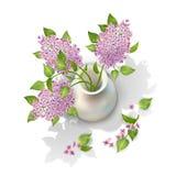 Vektor-Flieder im Vase Lizenzfreies Stockfoto