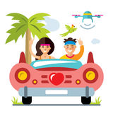 Vektor-Flitterwochen auf dem Retro- Auto Flache Art bunte Karikaturillustration stock abbildung