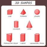 vektor former 3d Bildande affisch för barn Fasta geometriska former Kub cuboid, pyramid, sfär, cylinder, kotte Royaltyfri Fotografi