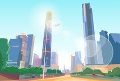Vektor för Cityscape för sikt för stadsgataskyskrapa Arkivfoton