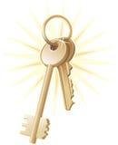 vektor för fast egendom för home tangenter för guld Royaltyfri Bild