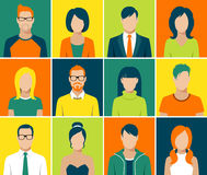 Vektor för folk för framsida för användare för plana avatarapp-symboler fastställd Royaltyfri Bild
