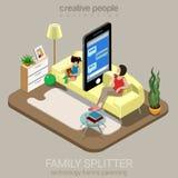 Vektor för lägenhet för internet för barnuppfostran för familjdelare isometrisk social Royaltyfri Bild