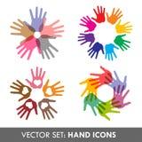 vektor för samlingshandsymboler Arkivbild
