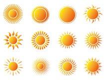vektor för sun för designelement symboler inställd Arkivbild