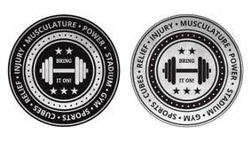 Vektor för symboler för bodybuildingkonditionidrottshall på en vit Arkivfoto
