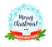 Vektor-frohe Weihnacht-guten Rutsch ins Neue Jahr verzierte den Kranz mit Glückwunsch lokalisiert auf weißem Hintergrund stock abbildung