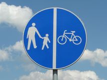 Vektor gångaren och cykelbanorna med naturlig bakgrund stock illustrationer