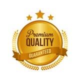 Vektor garantierte erstklassigem Qualitäts-Goldzeichen, rundem Aufkleber Stockfotos
