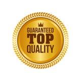 Vektor garantierte hochwertigem Goldzeichen, rundem Aufkleber Lizenzfreies Stockbild