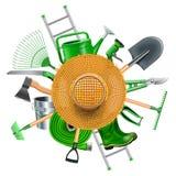 Vektor-Garten-Zubehör mit Straw Hat Stockfotos