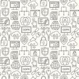 Vektor GDPR - vorgeschriebenes nahtloses Muster des allgemeine Daten-Schutzes mit Linie Artikonen Netzprivatsphäre und -sicherhei lizenzfreie abbildung