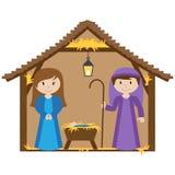 Vektor-Geburt Christis-Krippe Stockfoto