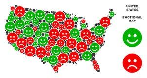 Vektor-Gefühl USA-Karten-Zusammensetzung von smiley lizenzfreie abbildung