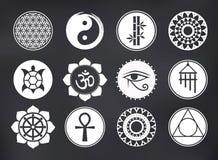 Vektor-geistige Ikonen eingestellt auf Tafel Stockfoto