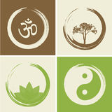 Vektor-geistige Logos stellten Illustration mit hindischem Wort OM ein Stockfotografie