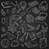 Vektor-Gekritzel-Ikonen-Sammlung Der Kompaß und der Winkelmesser Zurück zu Schule der erste Tag der Studie Hintergrund, Muster, T Lizenzfreies Stockfoto