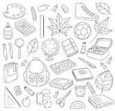 Vektor-Gekritzel-Ikonen-Sammlung Der Kompaß und der Winkelmesser Zurück zu Schule der erste Tag der Studie Hintergrund, Muster, T Lizenzfreie Stockfotos