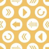 Vektor-gelber weißer Pfeil kreist nahtlosen Muster-Hintergrund ein Stockfotografie