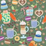 Vektor genießen Winterkollektion Satz Winterurlaube auf buntem Hintergrund Nahtloses Muster mit Winter kleidet, die Bonbons, maca Lizenzfreie Stockbilder