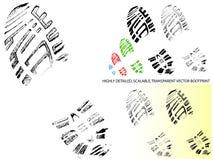Vektor genomskinlig Bootprint - som högt är detaljerad och Arkivfoto