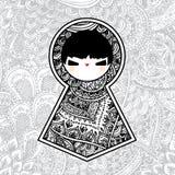Vektor geometrische nette Puppe Babushka Matryoshka stockbild