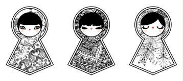 Vektor geometrischer netter Puppen-Hintergrund Babushka Matryoshka Stockfotografie