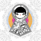 Vektor geometrischer netter Puppen-Hintergrund Babushka Matryoshka lizenzfreie stockbilder