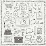 Vektor-Geschäfts-Weinlese-schwarze Hand skizzierte Ikonen Stockfotografie