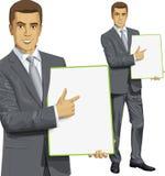 Vektor-Geschäftsmann-With Empty Write-Brett Stockbilder