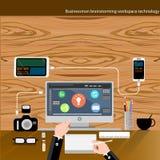 Vektor-Geschäftsmannbrainstorming-Arbeitsplatztechnologie Stockfotos