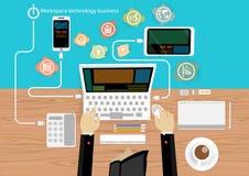 Vektor-Geschäftsmannbrainstorming-Arbeitsplatztechnologie Stockbild