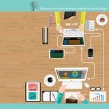 Vektor-Geschäftsmannbrainstorming-Arbeitsplatztechnologie Stockbilder