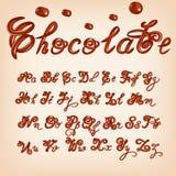 Vektor geschmolzenes Schokoladenalphabet Glänzende, glasig-glänzende Buchstaben, Flüssigkeit Gussart Glattes Maschinenschriftsatz Lizenzfreie Stockfotos