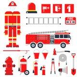 Vektor-gesetzter Feuerwehrmann-Brandschutz-flache Ikonen und Symbole Stockbild