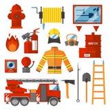Vektor-gesetzter Feuerwehrmann-Brandschutz-flache Ikonen und Symbole Stockfotografie