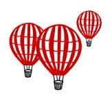 Vektor-gesetzter roter Ballonhandabgehobener betrag lokalisiert auf weißem Hintergrund Vektor Abbildung
