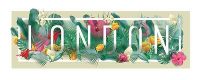 Vektor gestaltete typografische LONDON-Stadtblumengrafik Lizenzfreies Stockbild