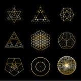 Vektor-Gestaltungselementsammlung der heiligen Geometrie goldene Alchimie, Religion, Philosophie, Geistigkeit, Hippie-Symbole stock abbildung