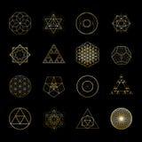 Vektor-Gestaltungselementsammlung der heiligen Geometrie goldene Alchimie, Religion, Philosophie, Geistigkeit, Hippie-Symbole vektor abbildung