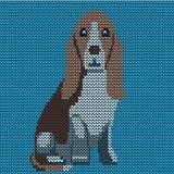 Vektor gestricktes Hundemuster Dachshund auf blauem Hintergrund lizenzfreie abbildung