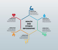 Vektor-Gesundheit und Eignung Infographic, das sechs Ikonen mit entsprechenden Informationsteilen kennzeichnet Vektor Abbildung