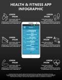 Vektor-Gesundheit und Eignungs-intelligente Telefon-Anwendung Infographic, das sechs Verfolger kennzeichnet vektor abbildung